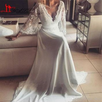 Charming Chiffon Lace Bohemian Wedding Dress 2017 A Line Plunging V Neck Long Sleeve Vintage Greek Style Beach Wedding Gown