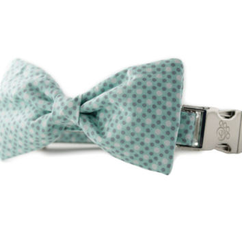 Mint Tiny Dot Bow Tie Dog Collar - Polka Dot Bow Tie Dog Collar from Sophisticated Pup, green dog bowtie collar, multi-dot dog bowtie collar