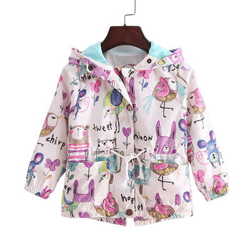 2-9T spring&summer girls jackets casual hooded outerwear for girls fashion Hand Painted kids Sunscreen clothing girls