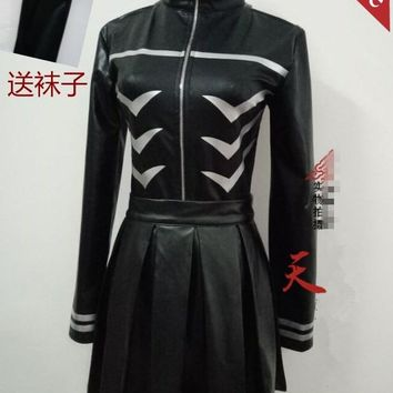 Anime! Tokyo Ghoul Kaneki Ken Sexual Turn Battle Suit Black Uniform Cosplay Costume coat+skirt+stockings Free Shipping