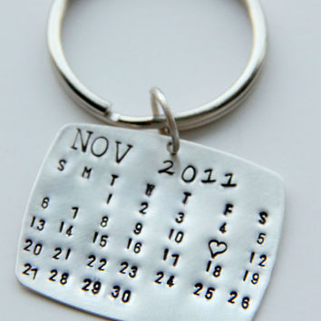 Calendar Keychain Silver Key Chain Valentines Gift For Him Wedding Favors
