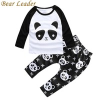 Bear Leader Panda Pattern Baby Clothing Sets Autumn Long Sleeve T-shirts+Pants For Infant Girls Lovely Cartoon Clothes Suits Kid