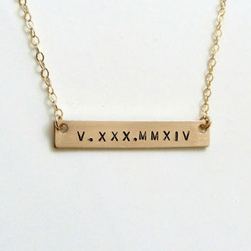 Personalized Bar Necklace Roman Numeral Date Necklace Initial Necklace Bridesmaid Gifts Monogram Necklace