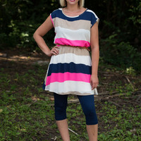 Bold and Beautiful Tunic/Dress - Navy/Pink