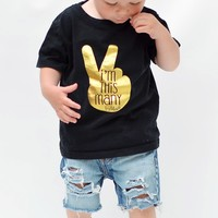 """I'm This Many"" Two Year Old Birthday T-Shirt, Black & Gold Foil, 2T Size"