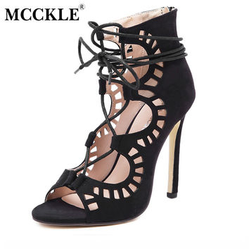 MCCKLE Women fashion Gladiator Sandals 2017 Brand Design Women's sandal Lace Up Sandals High Heels Sexy party Shoes Plus S621