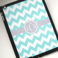 iPad Case Tiffany Blue Chevron iPad 2 iPad 3 Case  -  E-Reader Accessories - Custom Monogram iPad Cover- Personalized iPad Case