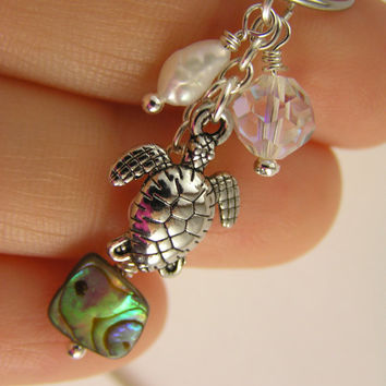 Ocean Sea Turtle Abalone Freshwater Pearl AB Crystal Captive Bead Ring 14g 16g Cartilage Hoop Conch Belly Button Navel Earring Women Teens