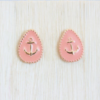 Coral Anchor Stud Earrings