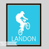 BMX Prints - Bike Rider Wall Art, Personalized Name Print, Teen Room, Nursery Decor, Children's Room, Playroom Decor