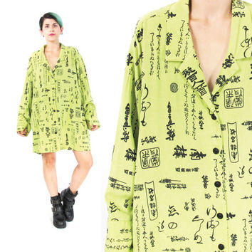 90s Asian Blouse Chinese Calligraphy Print Womens Plus Size Blouse Lime Green Long Sleeve Button Down Shirt Novelty Print Top (L/XL)