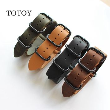 TOTOY Handmade Leather Watchbands, 18MM 20MM 22MM 24MM 26MM Soft Leather Strap, Suitable For NATO NATO Strap