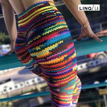 Colorful Knit String Print Leggings