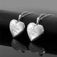925 Silver Necklace Jewelry I Love You Heart Floating Locket Memory Locket Necklace for Women Girls Valentine's Day Gift N1352