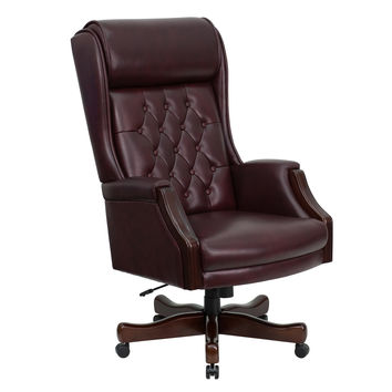 Flash Furniture High Back Traditional Tufted Burgundy Leather Executive Swivel Office Chair [KC-C696TG-GG]