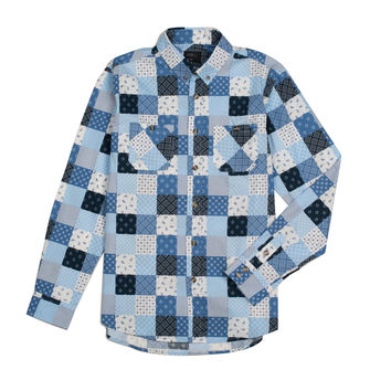 Mixed Patch Button Down Light Blue