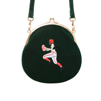 YiZi Velvet Mini Crosbody Bag/Green Football Player