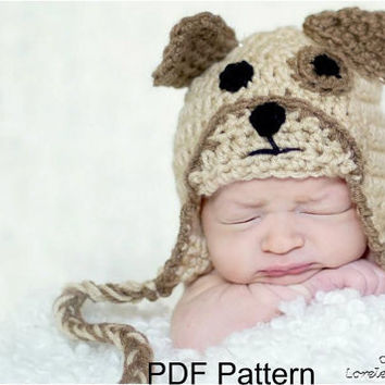 PDF Crochet Puppy Dog Hat Pattern, file sent via email. Finished size fits newborn to 3 months.