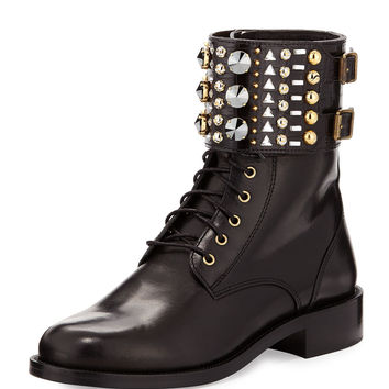 Studded-Cuff Leather Boot, Black