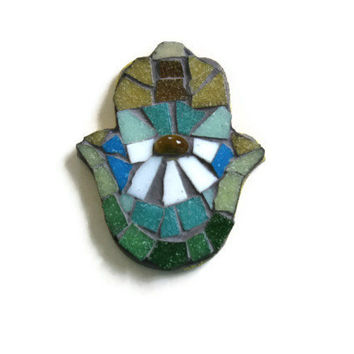 Mosaic Fridge Magnet Daisy Glass Art Hamsa Hand Gold Teal White Home Decoration Office Broken China