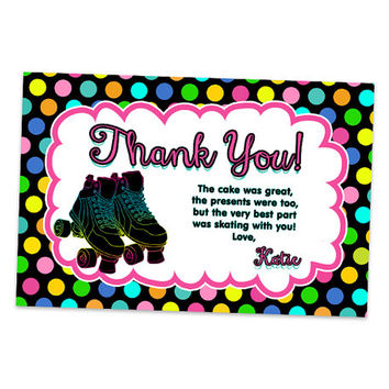 Neon Roller Skating Thank You Card - Roller Skate Party Favor Tags - Rainbow Skating Thank You Tags - Girls Fast Personalized Polka Dot