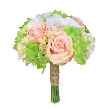 2 pc Bouquet and Boutonniere Set: Ivory, Peach, and Green Hand-Tied Bouquet. Burlap wrapped ribbon