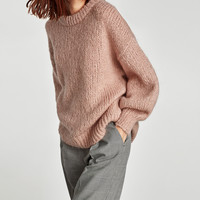 MOHAIR SWEATER WITH PUFFY SLEEVES DETAILS