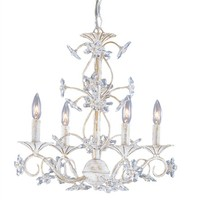 On Sale Antique White Wrought Iron Chandelier with Hand Polished Crystals