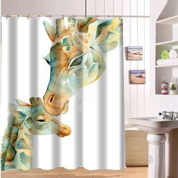 F516XY27 Custom The giraffe and colorful hand-drawn cartoon animals Fabric Modern Shower Curtain bathroom Waterproof  LF22