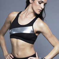 Norma Kamali Spliced Racer Bra in Black/Silver Foil