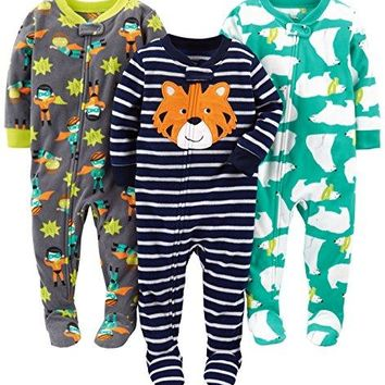 Simple Joys by Carter's Baby Boys' 3-Pack Flame Resistant Fleece Footed Pajamas, Tiger/Polar Bear/Superhero, 12 Months