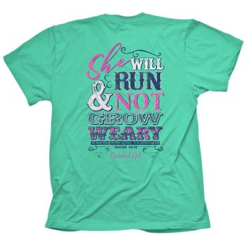 Cherished Girl She Will Run & Not Grow Weary Girlie Christian Bright T Shirt