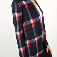 Navy/red plaid cardigan with elbow patch