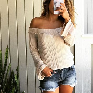 2018 Women's Solid Color Long Sleeve Tops