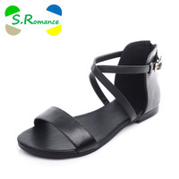 S.Romance Genuine Leather New Arrival Hot Sale Fashion Summer Sweet Women Flats Heel Sandals Buckle Strap Women Shoes SS231