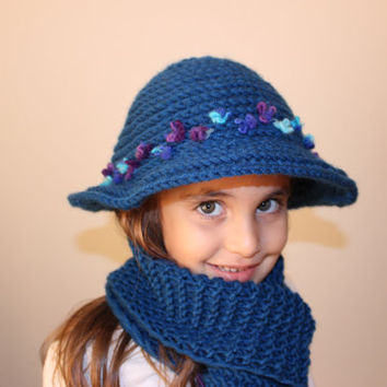 9863228b3b3 Girls Hat Fedora Knit Hat Kids Hat and Scarf Set Mom And Daughte