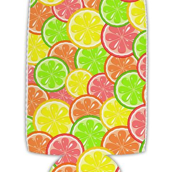 Colorful Citrus Fruits Collapsible Neoprene Tall Can Insulator All Over Print