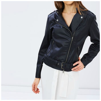 Crueltyfree Vegan Leather Biker Jacket With Tab Collar - 'Emma'.Buy In Store.