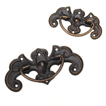 Door Knob Vintage Furniture Cupboard Closet Cabinet Door Knobs Drawer Dark Bronze Pull Handle S/L Size Zinc Alloy
