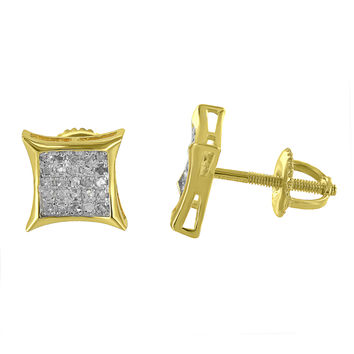 Kite Shape Earrings Gold Over 925 Sterling Silver Real Diamonds Pave