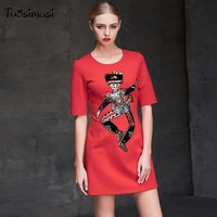 Women autumn fashion half sleeve   casual vintage line A red Embroidery sequins dress cartoon dress (LD021)