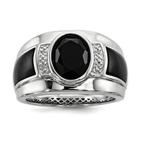 Sterling Silver Diamond & Onyx Men's Ring