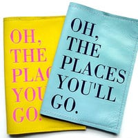 Oh The Places You'll Go Leather Passport Cover/Holder