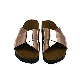 Park Moda Womens Cross Strap Slide On Open Toe Footbed Sandals Cork Low Heel Platform Sandals