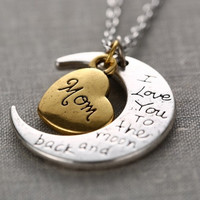 "2015 New Fashion Family ""I LOVE YOU TO THE MOON AND BACK "" Necklace Pendant = 1946207812"