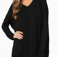 "PIKO ""Classic"" V-Neck Long Sleeve Top - Black"