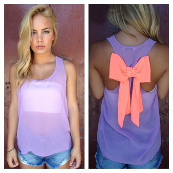 Lavender Sheer Neon Coral Bow Back Tank