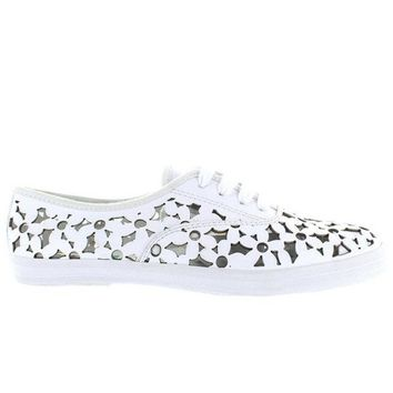 ESBONIG Jeffrey Campbell Peg Daisy - White Leather Floral Laser Cut Sneaker