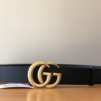 NEW W/ TAGS AUTHENTIC GUCCI LEATHER BELT WITH DOUBLE G BUCKLE SZ 85cm