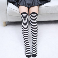 Black White Striped Long Socks Women Warm Cotton Over The Knee Socks 2016 Stylish Sexy Thigh High Stockings Autumn Winter Medias